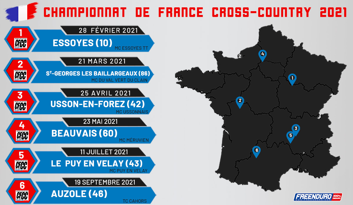 Calendrier Cross Country 2021