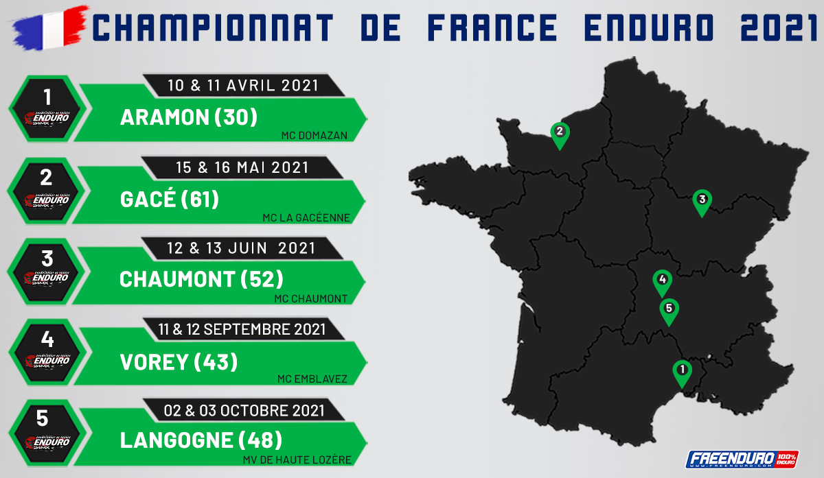 Dates  championnat de France d'enduro 2021