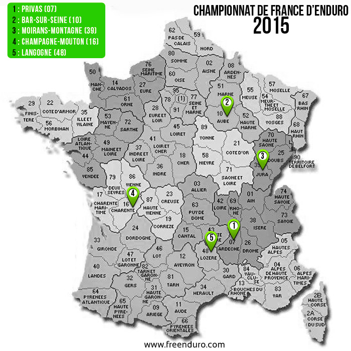 carte championnat de france d'enduro 2015