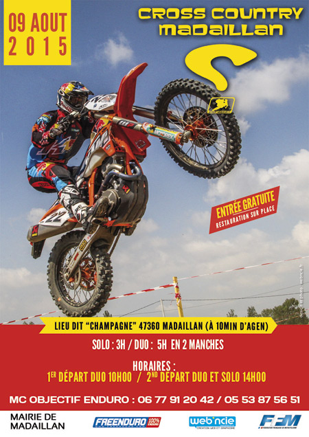 affiche course moto cross country madaillan 2015