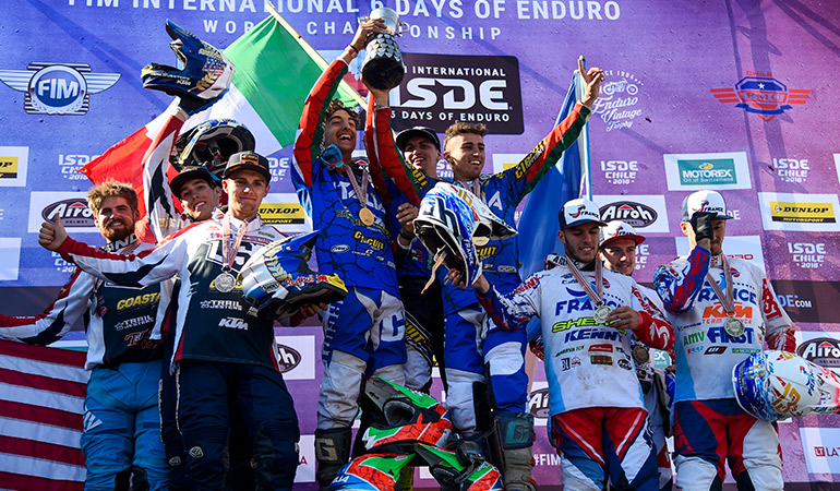le podium final des pilotes junior ISDE 2018