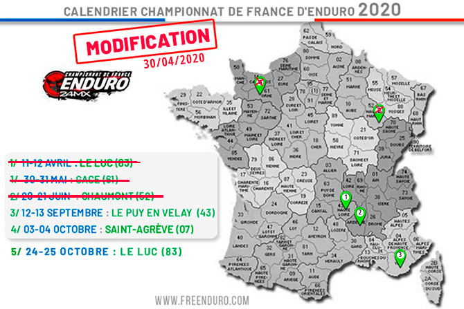 Covid 19: modification calendrier championnat de France enduro 2020